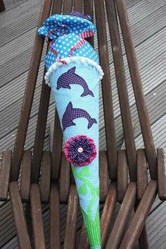 Schultüte/Zuckertüte Stoff mit Delfinen von ❤ larimari ❤ auf DaWanda.com