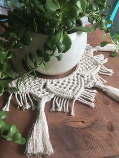 Items similar to Mandala Macrame Table Decor / Modern Macrame Centrepiece / Macrame Table / Macrame Doily / Macrame Plant Skirt on Etsy Knitting Yarn Diy, Modern Macrame, Macrame Plant, Boho Theme, Macrame Design, Macrame Tutorial, Boho Diy, Mandala, Doilies