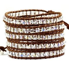 Crystal Ice - brilliant Swarovski style crystals, with natural leather