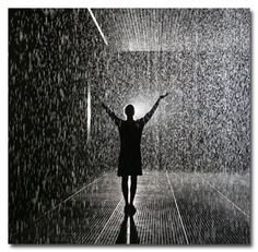 Rain Room at Barbican's Curve Gallery in London. Installation art that is pretty much exactly what it sounds like -- a room wherein it is perpetually raining but you can walk through and never get wet. There are cameras all over the room that create 3-D maps of every person inside. The cameras relay this info to a grid that controls the falling water, turning off any droplets that would soak the gallery's guests.