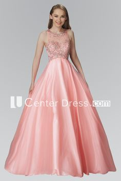 Ball Gown Long Scoop-Neck Sleeveless Satin Illusion Dress With Beading