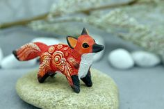 """Cute little #fox for you. 3.5 inches in length, velvet clay, acrylic. """"Velvet Clay Studio"""", by Dan Karhu, 2017. Figurines of velvet clay is very light, pleasant and magica... #foxy"""