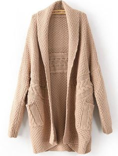 Light Coffee Long Sleeve Cable Knit Pockets Cardigan