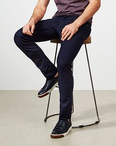solid navy saddle jeans