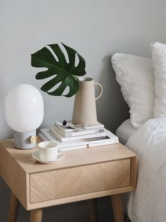 Simple ways to spruce up your bedroom this summer,. Simple ways to spruce up your bedroom this summer, with Houseology [AD] Bedside Table Decor, Wooden Bedside Table, Bedside Tables, Bedside Table Styling, Best Bedside Lamps, Room Ideas Bedroom, Bedroom Decor, Cozy Bedroom, Bedroom Table