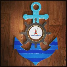 This beautifully hand painted anchor is now available in our shop! You can purchase the anchor with or without the insert if you would like to paint it yourself ❤️ This one is for Cameron's nursery! Wood Anchor, Create A Board, Bathroom Design Small, Wood Cutouts, Cruise Vacation, Custom Wood, Anchors, Shells, Collage