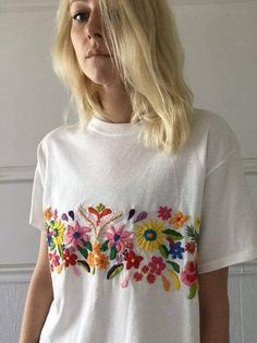 Floral band tee by TessaPerlowInc on Etsy(Diy Ropa Moda) Style Outfits, Mode Outfits, Fashion Outfits, Womens Fashion, Grunge Outfits, Style Fashion, Bohemian Style Clothing, Bohemian Chic Fashion, Boho