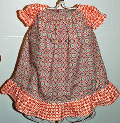Orange and Multicircle Peasant Dress by mickiesmuse on Etsy, $30.00