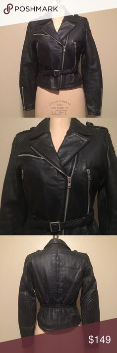 Vintage 1970's Berman's Leather jacket, size 8 This is the most amazing leather jacket I've seen! It is a 1970's black 100% real leather biker jacket in the style of the Harley Davidson vintage cycle King AMF jackets!! All zippers and snaps work and the jacket is in great condition considering its age! Only flaw is minor wear, and the elastic rucking at the back is weakened but doesn't affect wearability at all, it's literally gorgeous! The quilting is intact and it is lined with a sewn in…