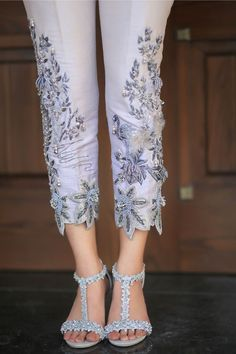 Grey raw silk trousers with bead, sequined and crystal embroidery. Pakistani Dresses Casual, Pakistani Bridal Dresses, Pakistani Dress Design, Salwar Designs, Kurti Designs Party Wear, Dress Indian Style, Indian Dresses, Fashion Pants, Fashion Dresses