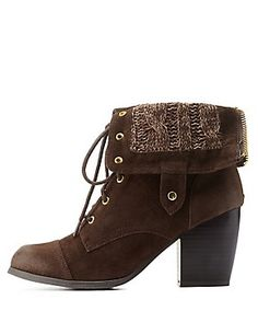 Sweater-Lined Chunky Heel Lace-Up Booties: Charlotte Russe