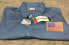 New Clique Blue Uniform Work Button Down Shirt Top XXL USA Flag NWT Scotch Gaurd #Clique #ButtonFront
