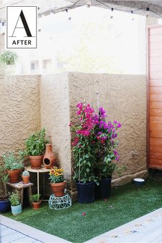 10 non renovation renovation ideas for renters pinterest before after a budget and renter friendly patio makeover adding turf grass solutioingenieria Gallery