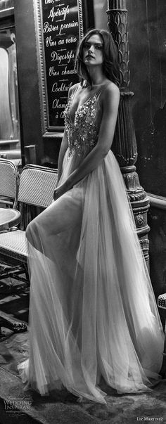 liz martinez 2018 bridal sleeveless sheer strap v neck heavily embellished bodice tulle skirt romantic sexy soft a line wedding dress (12) lv -- Liz Martinez 2018 Wedding Dresses