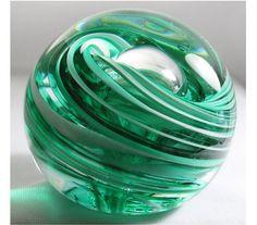 Green and White Paperweight Handmade Glass by ElliottGlassArt, $29.95