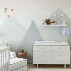 mountain inspired. soft nursery wall graphics. #homepolishnyc