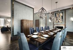 LINLEY Interior Design has produced design options for the interiors of a series of penthouses and apartments at Knightsbridge Private Park.#Interior #Design #Home #Artdeco #Decor #Dinning #Room #Decorating #Interior #Design