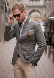 Image result for khaki pants grey jacket