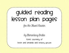 Guided Reading Lesson Plan Page Transitional Reader  Guided