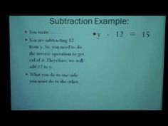 Solving Equations with Whole Numbers Part I