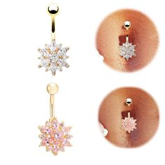 Belly Button Rings Crystal Rhinestone Flower by berotuterce