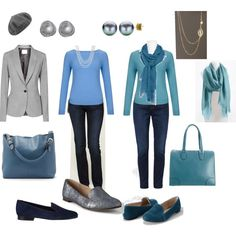 """""""Grey Ponte Jacket and teals"""" by pidget2 on Polyvore"""