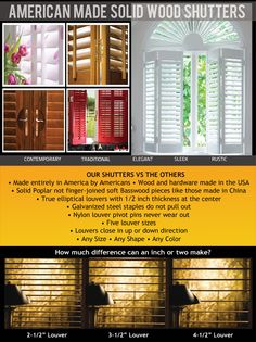 American Made Solid Wood Shutters Manufactured by ISS.