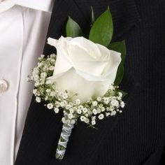 White rose boutonniere for the groom :)