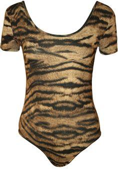 WearAll Women's Animal Print Stretch Bodysuit Ladies Leopard Short Sleeve Top - Tiger - US 4-6 (UK 8-10)