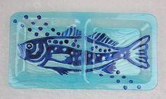 $40.00 Nautical Beach Blue Glass Fish Rectangular Divided Serving Platter Dish