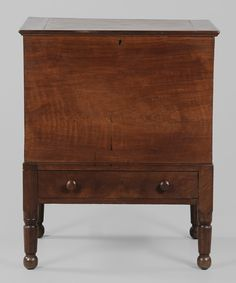 Figured walnut sugar chest, Kentucky or Tennessee, C. Antique Decor, Antique Furniture, Vintage Antiques, Southern Furniture, Wood Basket, Antique Chest, Blanket Chest, Dream Studio, Early American