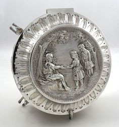 English antique silver circular box with chased figures London 1835 by Edward…