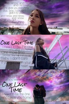 "How I felt for a long time- perfect song, but I'm not her glad she gave Ya what I couldn't!  ""One Last Time - Ariana Grande"""