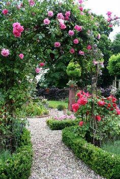 Rosenbogen mit Buchshecken