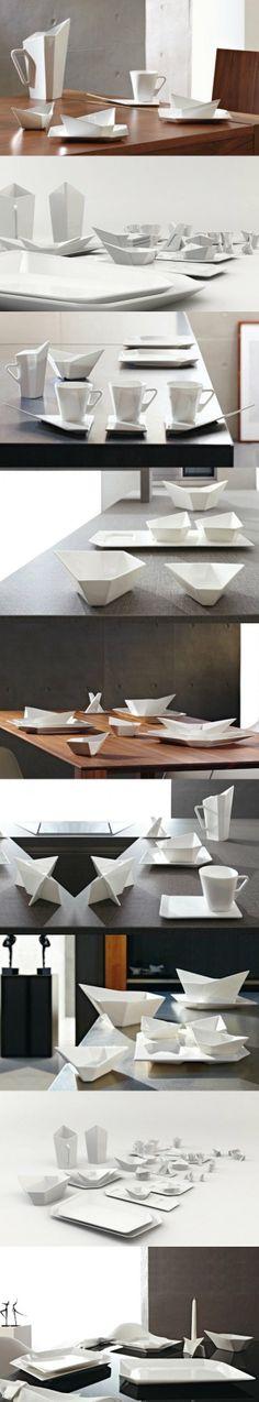 折纸 餐具设计*❀。 Shape Design, Dinnerware, Modern Design, Industrial, Homes, Sculpture, Ceramics, Dining, Decoration