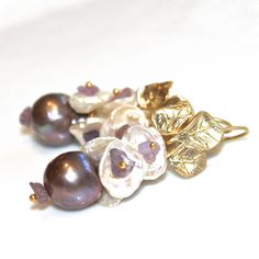 Mauve Pearl Earrings Purple Pearl Earrings Baroque by FizzCandy, $72.00