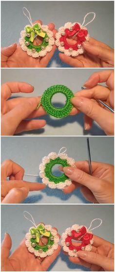 Crochet Christmas Wreath, Crochet Wreath, Crochet Christmas Decorations, Crochet Ornaments, Christmas Crochet Patterns, Holiday Crochet, Ornament Crafts, Christmas Knitting, Diy Christmas Ornaments