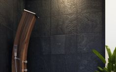 Curved Wooden Outdoor Shower