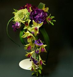 Cascading Purple and Green Silk Wedding Bouquet