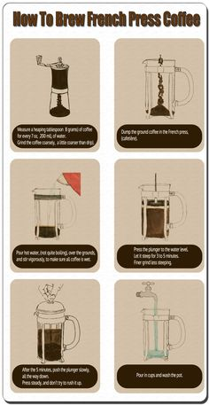 How To Brew French Press  - http://coffee-brewing-methods.com/french-press-coffee-maker/brew-french-press-infographic/