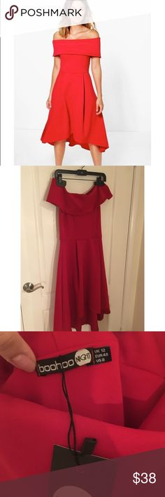Red off shoulder midi dress! Brand New*** Boohoo  color is true red model pictures looks a little orange. Neoprene fabric so it contours your body nicely size 8usa usually M! Let me know if you have any questions! I accept reasonable offers! Boohoo Dresses Midi