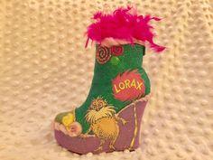 Lorax shoe. Krewe of Muses 2017 glitter shoe.