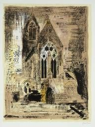 Mixed-Media Architecture with Frottage - John Piper influenced - John Piper – is considered to be one of the most significant British artists of the Centu John Piper Artist, Monuments, Urbane Kunst, Street Art, Edward Hopper, Building Art, A Level Art, Chapelle, London Art