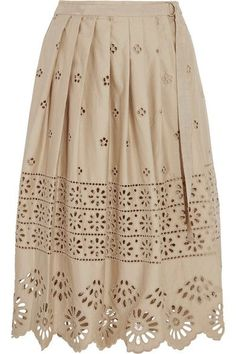 SEA - Wrap-effect Broderie Anglaise Cotton Skirt - Beige - US10