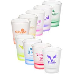Clear frosted 2 oz shot glass with colored bottom
