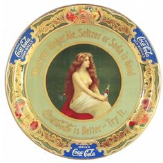 Extremely Rare Coca Cola Nude Tin Serving Tray. Western Coca-Cola Bottling Co. Chicago.