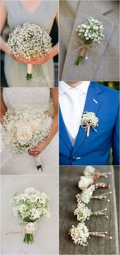 Baby Wedding Wedding Bouquets and Boutonniere Bl .- Baby-Hochzeits-Hochzeitssträuße und Boutonniere Baby Wedding Wedding Bouquets and Boutonniere Flowers Bouquets … - Small Wedding Bouquets, Diy Wedding Bouquet, Diy Bouquet, Wedding Flower Arrangements, Bridal Bouquets, Gypsophila Wedding Bouquet, Wedding Centerpieces, Church Wedding Decorations, Tall Centerpiece