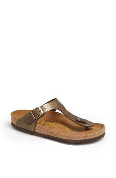 Free shipping and returns on Birkenstock 'Gizeh' Birko-Flor™ Thong at Nordstrom.com. Available in an array of fun colors, the iconic Gizeh thong sandal is fitted with the classic Birkenstock footbed and topped with a fully adjustable upper of Birko-Flor, a soft fabric with a smooth leather-like finish. The toe piece is made of flexible resin, anatomically designed to fit comfortably between the toes, and the soft suede insole absorbs moisture and feels great against the skin.