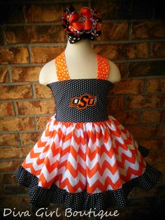 OSU Oklahoma State Cowboys Chevron Girls Boutique Dress OTT Boutique Hairbow Childrens Clothing 6m12m 18m 2T 3T 4T 5 6 on Etsy, $69.50