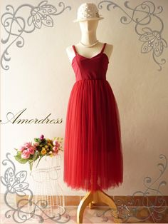 Vintage Inspired Bullet Lady Red Tutu Gown Prom Wedding Party Dress Queen of Romance Deep V Shape Sexy Sweet Gorgeous Style. $59.00, via Etsy.